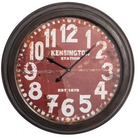 zegar loft z czerwoną tarczą, czarną ramą i białymi cyferkami