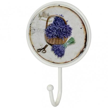 Okrągły metalowy wieszak z ozdobnym obrazkiem lawendy