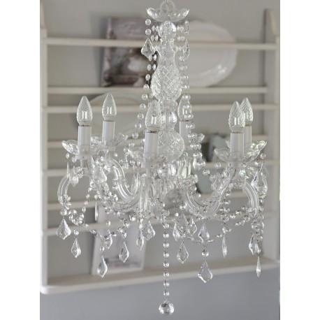 przezroczysty żyrandol z kryształkami