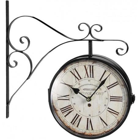 dwustronny zegar w stylu retro z jasną tarczą