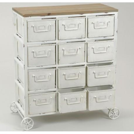 Metalowa Komoda w kolorze białym z dwunastoma szufladkami i ozdobnymi kółkami.