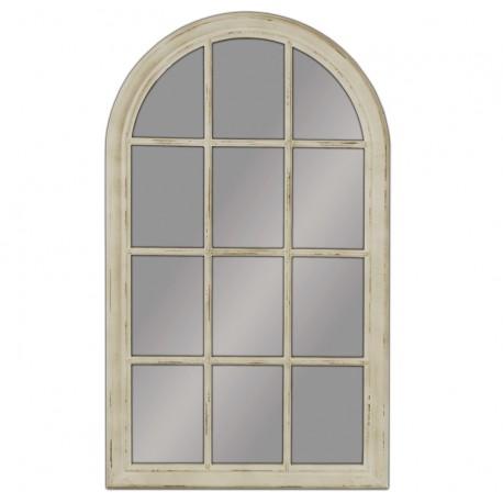 lustro w kształcie okna z kremową postrzaną ramą
