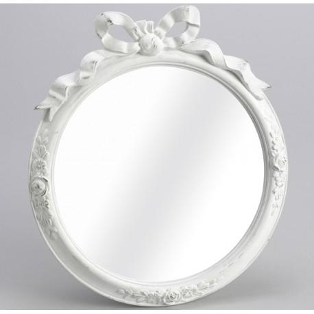 Okrągłe lusterko prowansalskie z białą ramą ozdobione kokardką.