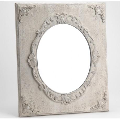 Lustro o kwadratowej ramie niezwykle zdobionej na styl prowansalski
