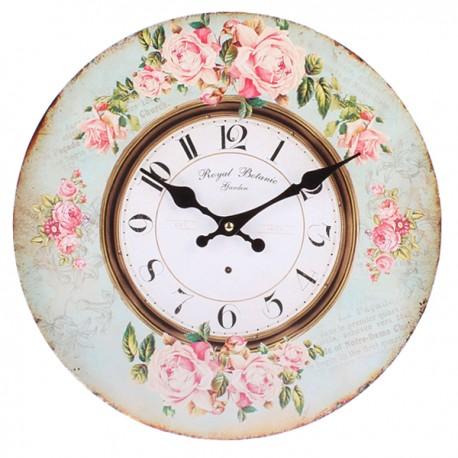 Zegar ozdobiony niebieską ramą i różami