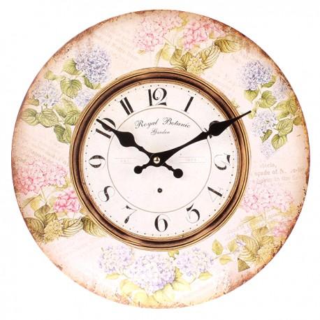 Zegar w stylu retro ozdobiony kwiatami hortensji
