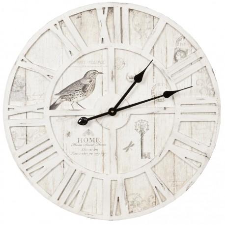 Jasno szary zegar drewniany ozdobiony grafiką ptaszków oraz rzymskich cyfr