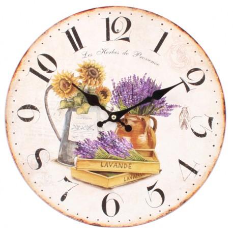 Piękny zegar z lawendą i słonecznikami w żywej kolorystyce