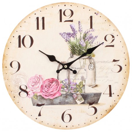 Jansy zegar z motywem lawendy w prowansalskim stylu