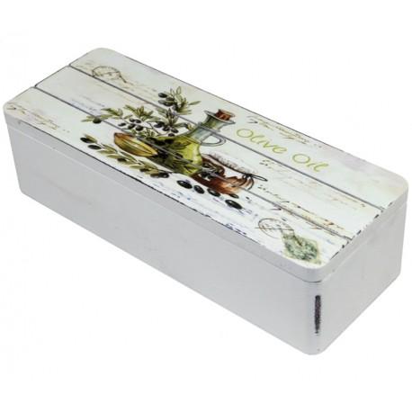 Charakterystyczna dekoracja w stylu prowansalskim - białe pudełko zdobione oliwkową grafiką.