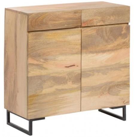 Drewniana komoda z szufladami i drzwiczkami oraz z ciekawymi metalowymi nogami.