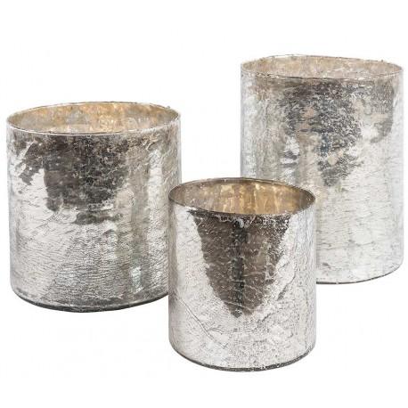 Szklany okrągły lampion w srebrnym kolorze