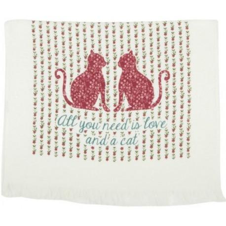 Bawełniany ręcznik kuchenny ozdobiony wizerunkiem kotów