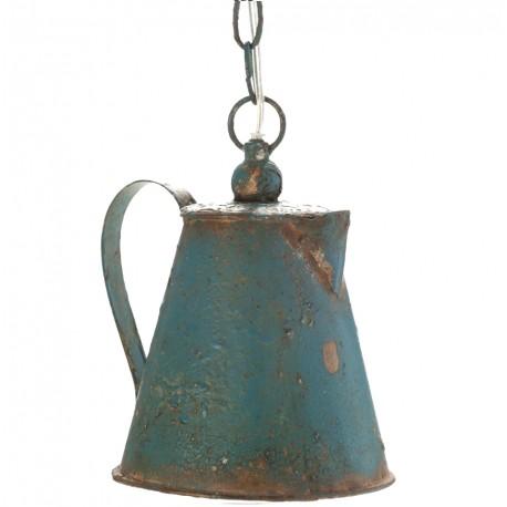 Stylowa, postarzana lampa w kształcie czajnika to pojedyncze źródło światła nad stół.