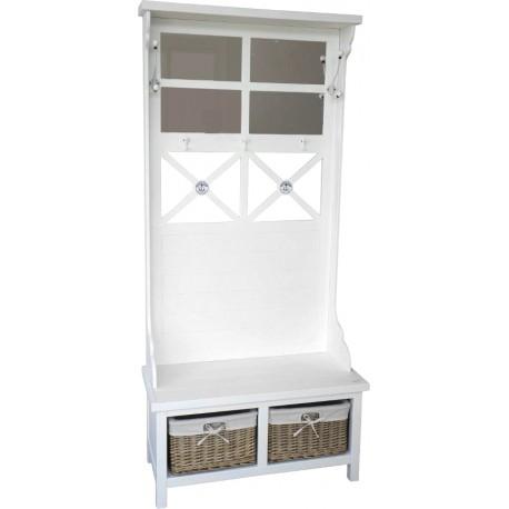 Biały mebel do przedpokoju posiadający wieszaki, lustra siedzisko i dwie półki z koszami