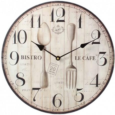Szary zegar ozdobiony motywem kuchennym