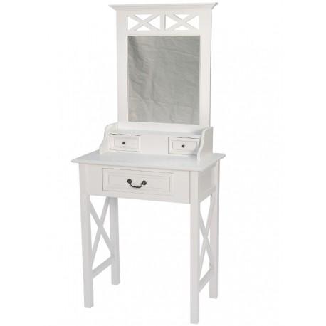 Drewniana  toaletka w białym kolorze posiada szuflady oraz dużą taflę lustra.