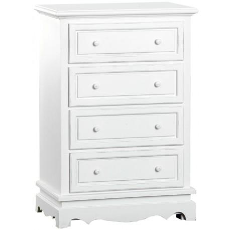 biała komoda z czterema szufladkami