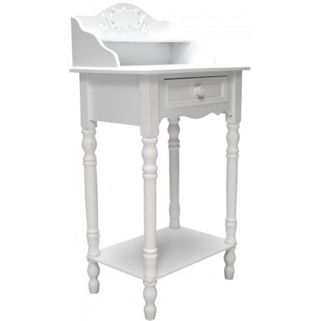 Białe biurko z półką i szufladką posiadające ozdobny dekor nad blatem