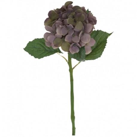 sztuczny  kwiat hortensja o fioletowych płatkach