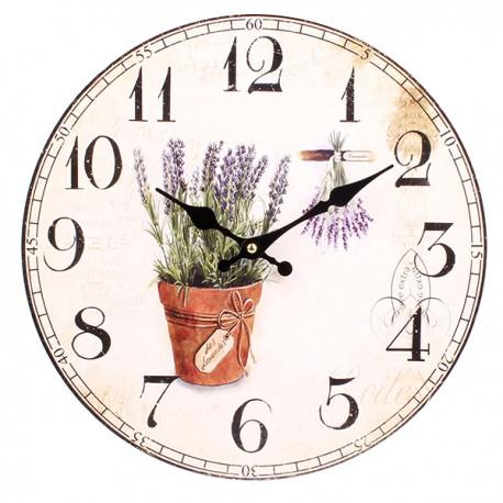 Jasny zegar z motywem prowansalskim czyli lawendą w doniczce