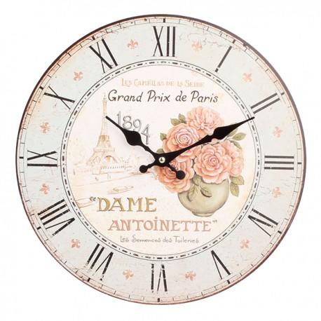 Jasny zegar z różami w wazonie
