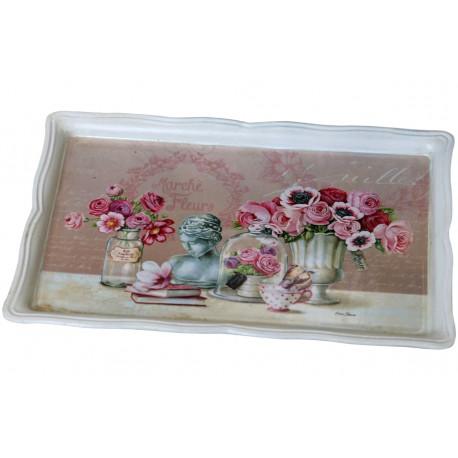 Prostokątna taca z obrazkiem na którym widać bukiety kwiatów