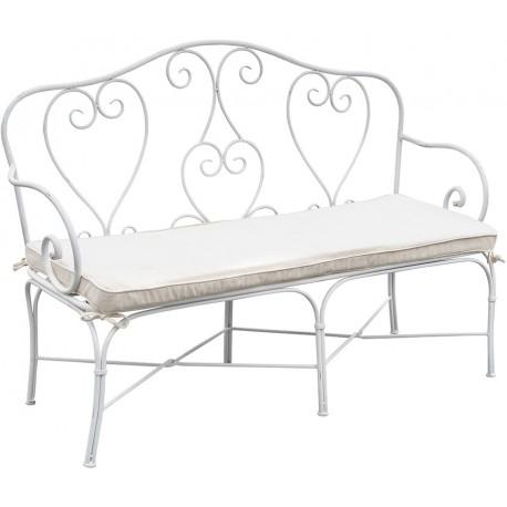Metalowa ławka do siedzenia od Belldeco wyposażona jest w wygodną poduszkę do siedzenia.