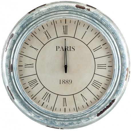 Uroczy zegar z drewnianą ramą w srebrnym kolorze.