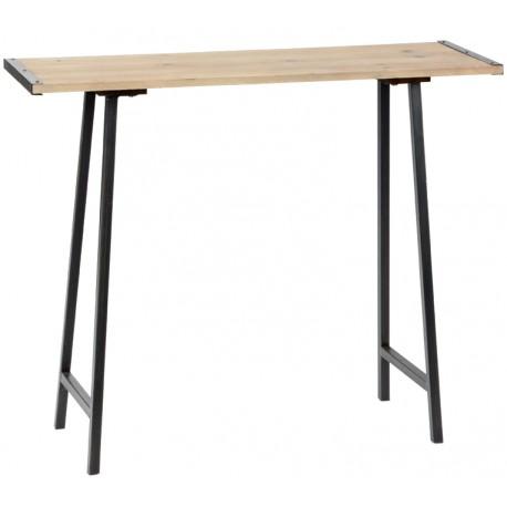 Wyjatkowa konsola- stół o metalowych nogach i drewnianym blacie.