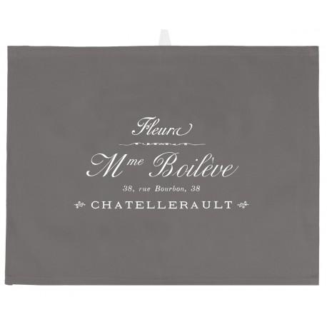 Szara ściereczka z białym francuskim napisem