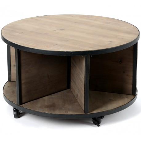 Okrągły stolik kawowy w stylu industrialnym w kolorze brązu i czerni