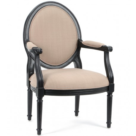 Fotel w stylu prowansalskim w kolorze czarnym i jasnym miękkim siedziskiem