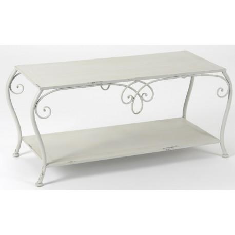 metalowy szary stolik z półką