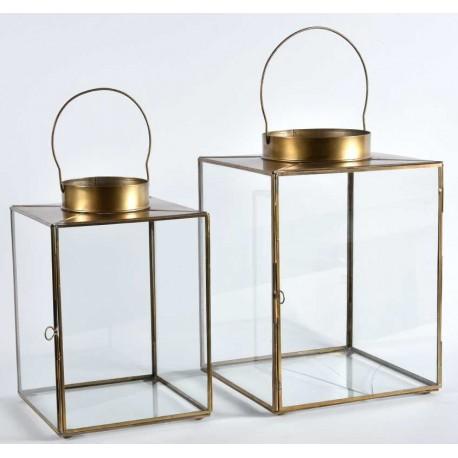 szklano metalowy lampion w miedzianym kolorze