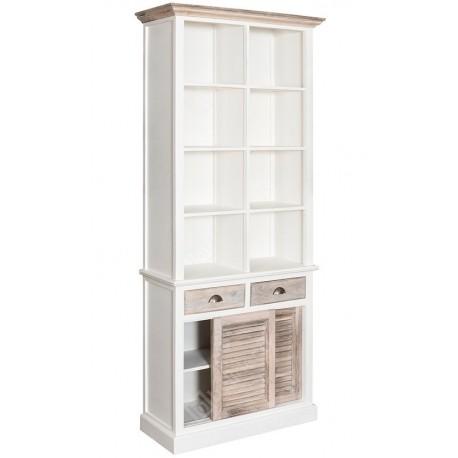 Brązowo biały regał z ośmioma półkami, dwoma szufladkami oraz półką za przesuwanymi drzwiczkami