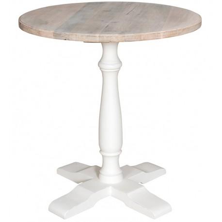drewniany stolik na białej nodze z okągłym brązowym blatem
