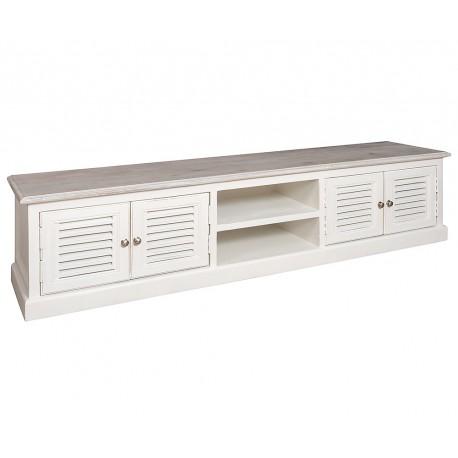 Biała szeroka szafka po telewizor z drzwiczkami i półkami