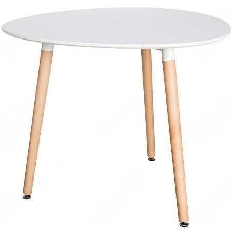 biało brązowy stolik w stylu skandynawskim