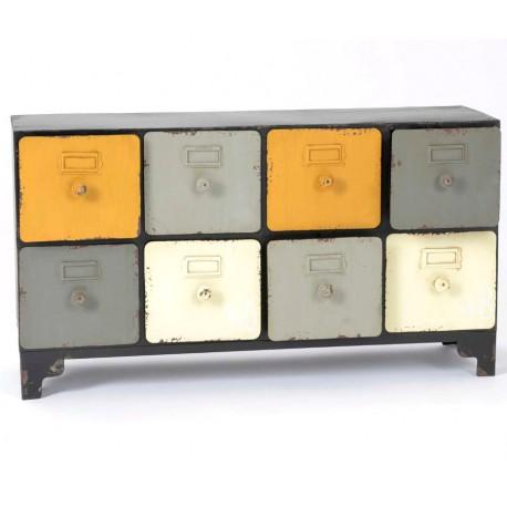 Metalowa komoda z kolorowymi szufladami