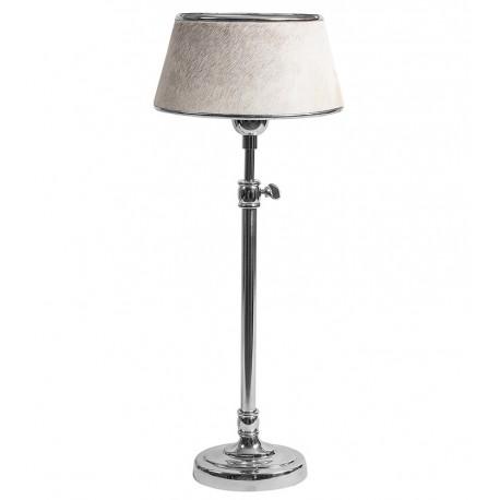 stojąca lampa na srebrnej nodze, z abazurem z włosiem