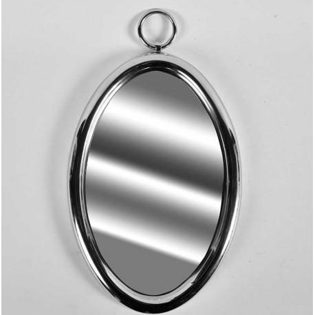 Owalne lustro w srebrnej metalowej ramie