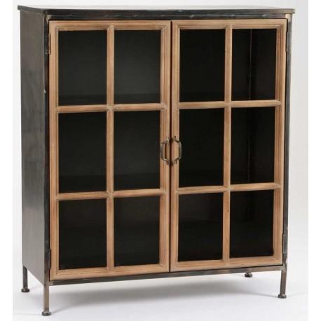 Czarna komoda wykonana z metalu z trzema półkami.