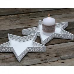 Białe Tace Chic Antique Gwiazdy 2szt.