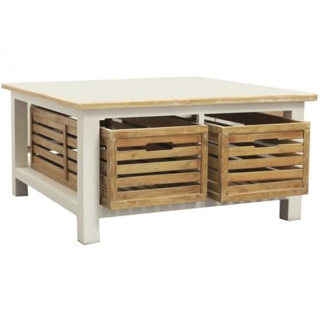Kwadratowy stolik kawowy posiadający białą podstawę, bielony blat oraz dwie drewniane skrzynki