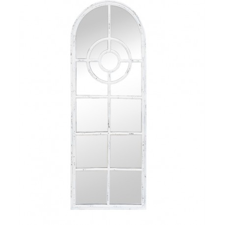wysokie lustro z białą ramą przypominające witraż