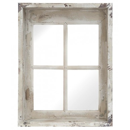 lustro przypominające okno z mocno postarzaną ramą