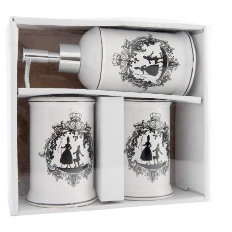 Ceramiczny, jasny zestaw łazienkowy z dozownikiem i dwoma kubkami w białym kolorze z czarną grafiką