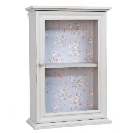 jasnoszara szafeczka wisząca z półką, oszklonymi drzwiczkami oraz motywem kwiatowym na tylnej ściance