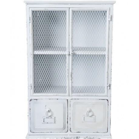 Biała przecierana szafka ścienna wykonana z metalu posiadająca półkę oraz szufladki
